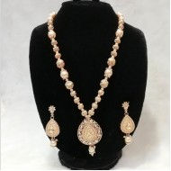White round pearl Jaipuri gold pleated pendant necklace(LF)