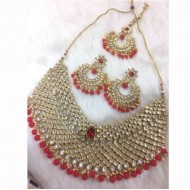 Red color Stone & Jaipuri gold pleated necklace(LF)