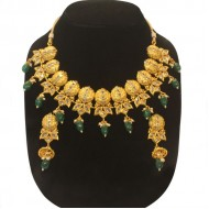 Multi color Pearl Jaipuri gold pleated on Indian Silver Necklace(LF)