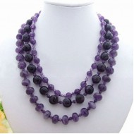 Purple color round and faceted amethyst necklace(LF)