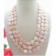 Pink coin pearl Necklace (LF)