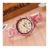 Floral print ladies wrist watch