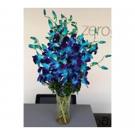 Blue Orchid With Glass Vase (fresh flowers)
