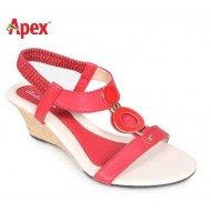 Sandra Rosa Red Leather Ladies Heel Sandals