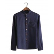 Navy Blue Cotton Long Sleeve Casual Shirt for Men