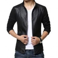Black Artificial Leather Jacket for Men (bd)