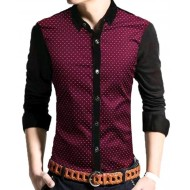 Black and Maroon Cotton Long Sleeve Casual Shirt for Men