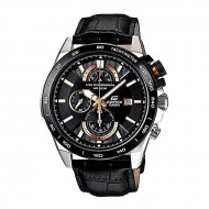 Casio EFR-520L - Black Leather Chronograph Watch for Men