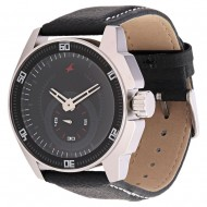 Black Leather Strap Analogue Watch