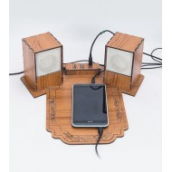 Wooden USB Hub Mouse Pad And Speaker MpUhSpSS02