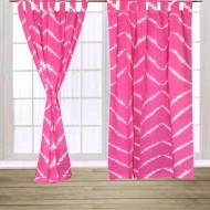 2 pieces pink tie dye curtain for window g