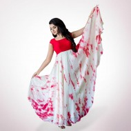 Red and white Lilen Dress for Women g
