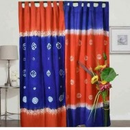 2 Pieces Blue and Orange Tie-dye Curtain for Window g