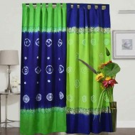 2 Pieces Tie-dye Curtain for Window Blue and Lemon g