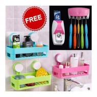 3 Bathroom Shelves and 1 Toothpaste Dispenser  combo- Multicolor