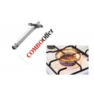 Combo of Kitchen Gas Lighter and Gas Saving Net - Silver