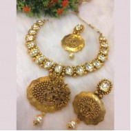 Crystal gold pleated on Indian Silver necklace(lf)