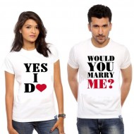 Pack of 2 White Cotton T-shirts for Couple (A)