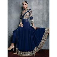 sobaroy Navy Blue Georgette Semi Stitched Gown for Women