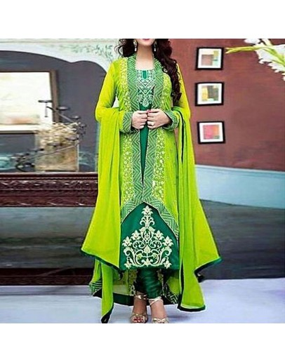 sobaroy Green and Lemon Semi-Stitched Georgette Gown For Women