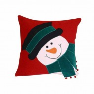 """Baby Bed Story Multi-Color Cotton Snowman Pillow - 16"""" x 16"""""""
