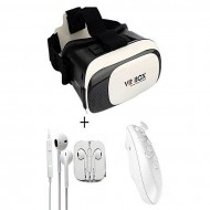 Dhaka Store Pack of 3 - VR Box 2 3D With Bluetooth Joystick Remote and Handsfree - White
