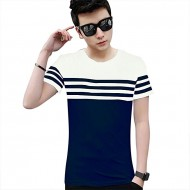 Noble Fashion White and Navy Blue Cotton Short Sleeve T-Shirt for Men