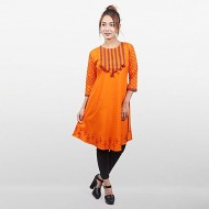 Nipun Orange Linen Kurti For Women