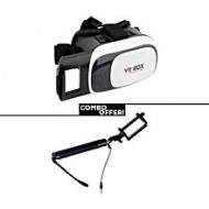 Jahir Computers Combo of 3D Glasses VR BOX with Selfie Stick - Black and White
