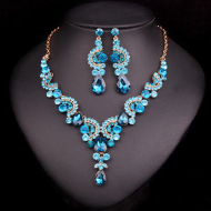 Luxury Multi-color Crystal Wedding Jewelry Sets Party