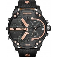 Black Dial Leather Band Chronograph Diesel Watch - DZ7350