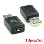 10pcs/lot New USB Male to Micro USB Female Adapter Connector Converter USB Cable Adapter