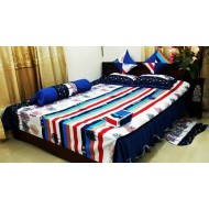 Blue-Red Cotton Bed Sheet Sets-316