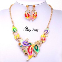 Alloy Crystal Colorful Necklace & Earring