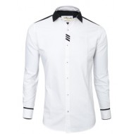 Lavelux Cotton Casual Long Sleeve Shirt - Black and White