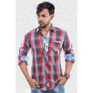 Lavelux Cotton Casual Long Sleeve Shirt - Red & Ash