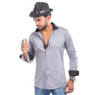 Cotton Casual Long Sleeve Shirt - Ash and Black