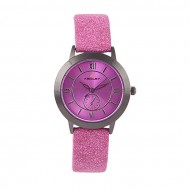 A.Z Enterprise Artificial Leather Analogue Watch For Women - Deep Pink
