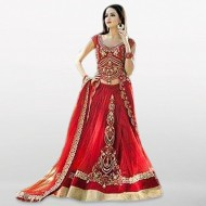 Tahosin Fashion Unstitched Red Georgette Lehenga For Women