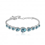 Crunchy Fashion Turquoise and Silver Zinc Alloy Bracelet for Women