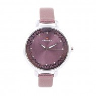 A.Z Enterprise Artificial Leather Analogue Watch For Women - Dark Orchid