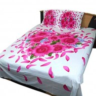 Home Tex Home Tex Red and White Cotton King Size Bedsheet With Two Pillow Cover