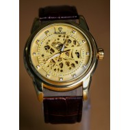ROVITE Chocolate Leather Automatic Skeleton Watch For Men