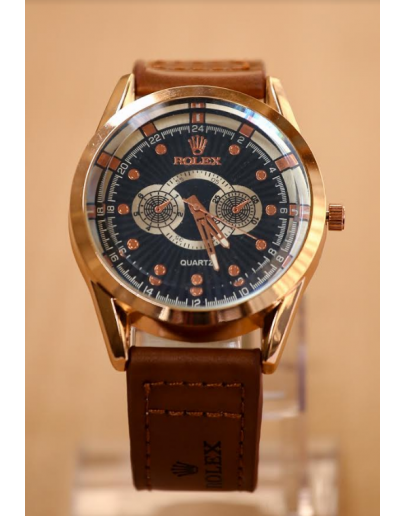Rolex Chocolate Leather Analog Watch For Men