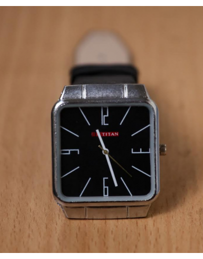 Black Leather Analog Watch For Men