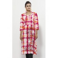 Fuchsia Tie-Dyed and Embroidered Viscose Tunic