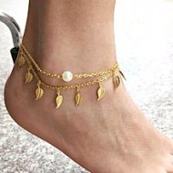 Asha's Collections Golden Zinc Alloy Anklet for Women
