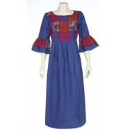 Blue Printed and Embroidered Linen Blend Kurta