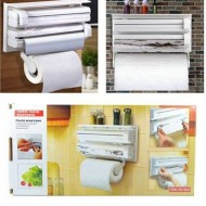 3 In 1 Kitchen Paper Dispenser Holder included Kitchen Roll Paper, Aluminium Foil Wrap & Cling Wrap