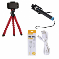 Combo Of Selfie Stick+Tripod+REMAX Micro USB Fast Charging Data Cable
